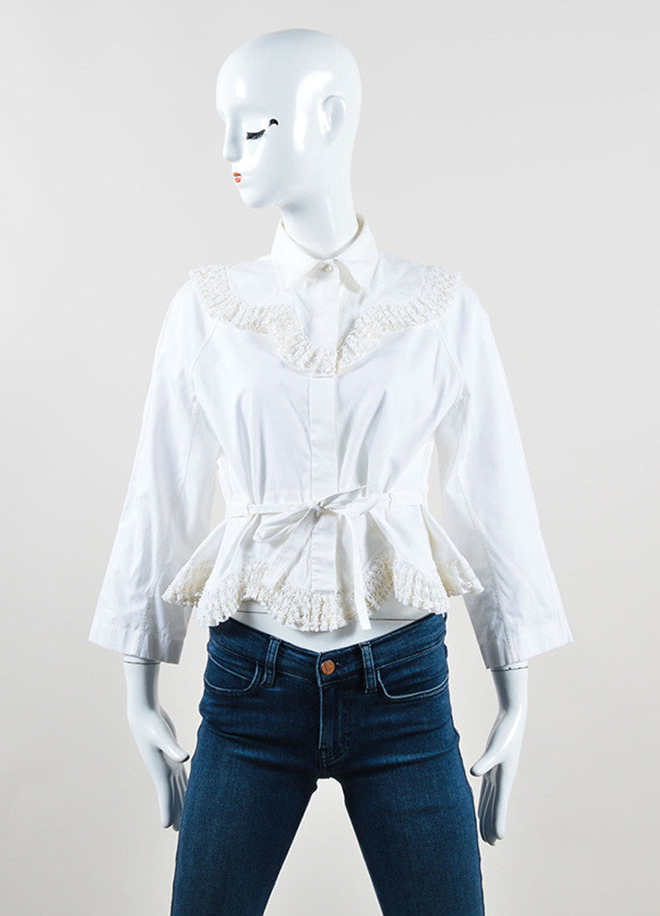Alaia White Poplin Eyelet Embroidered Crop Sleeve Belted Top Frontview