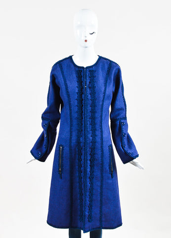 Andrew Gn Two Tone Blue Linen Embroidered Midi Coat Frontview 2