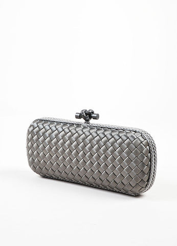 "Bottega Veneta Grey Satin Snakeskin Intrecciato Woven ""Knot"" Box Clutch Bag Sideview"