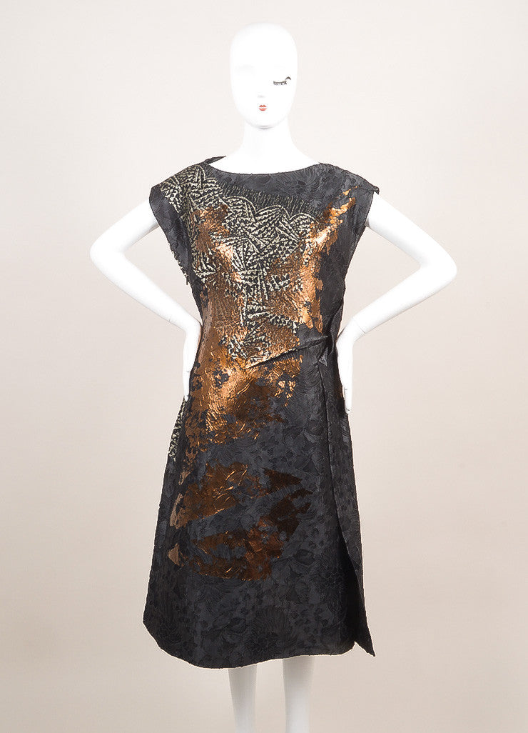 Bottega Veneta New With Tags Blue, Metallic Silver, and Bronze Silk and Lace Dress Frontview