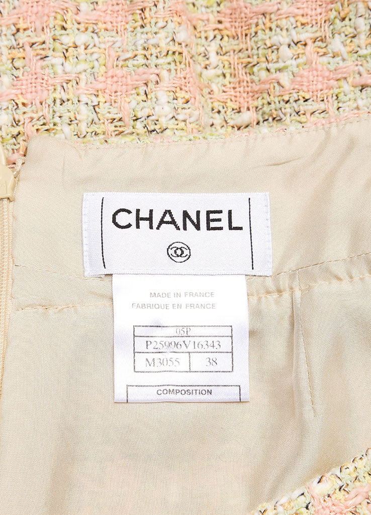 Chanel Green and Pink Houndstooth Tulip Skirt Brand