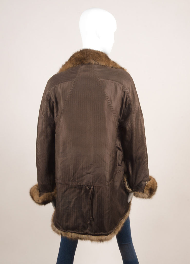 Chado Ralph Rucci Brown Silk Fur Trim Coat Backview