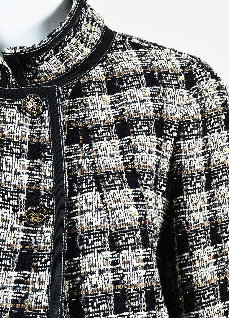 Chanel Brown, Black, and White Wool Tweed Twill Trim Jacket Detail