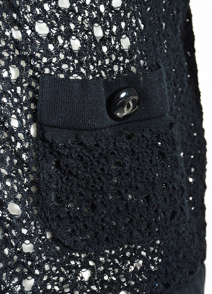 Chanel Black Cotton Open Knit Cardigan Sweater Detail
