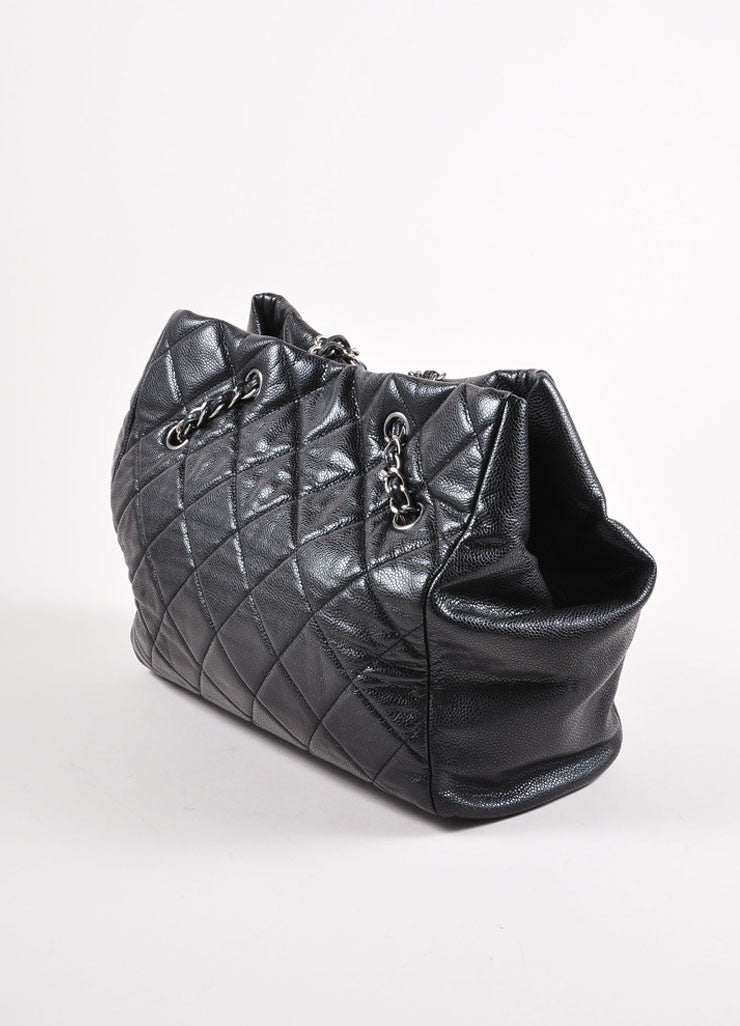 "Chanel Black and Silver Toned Quilted Caviar Leather ""CC"" Logo Shopper Tote Bag Sideview"