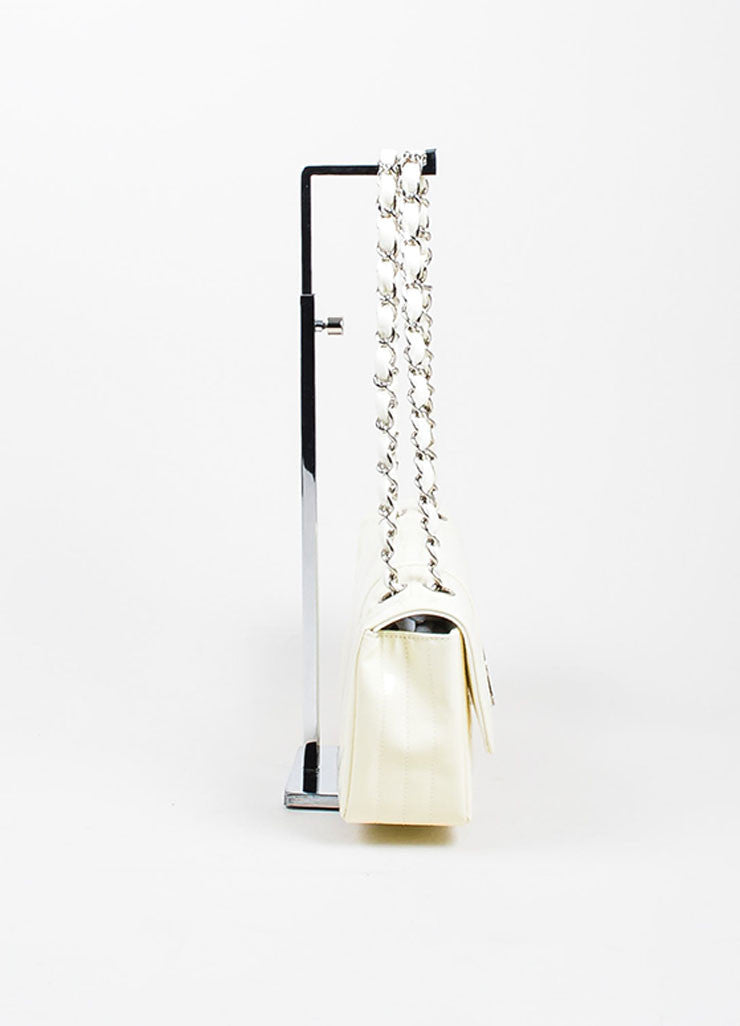 Cream and Silver Toned Quilted Patent Leather 'CC' Flap Chain Strap Bag Sideview