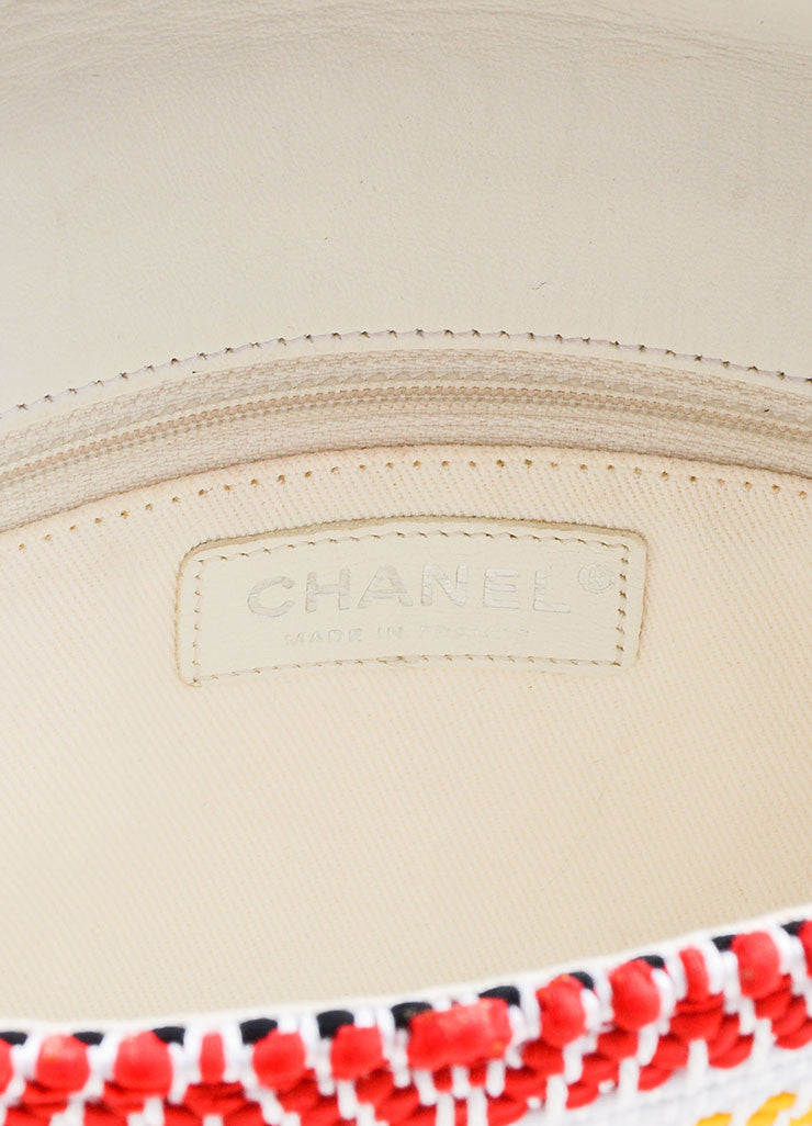 "White and Multicolor Chanel Woven Embroidered Ribbon Flap ""CC"" Turnlock Flap Bag Brand"