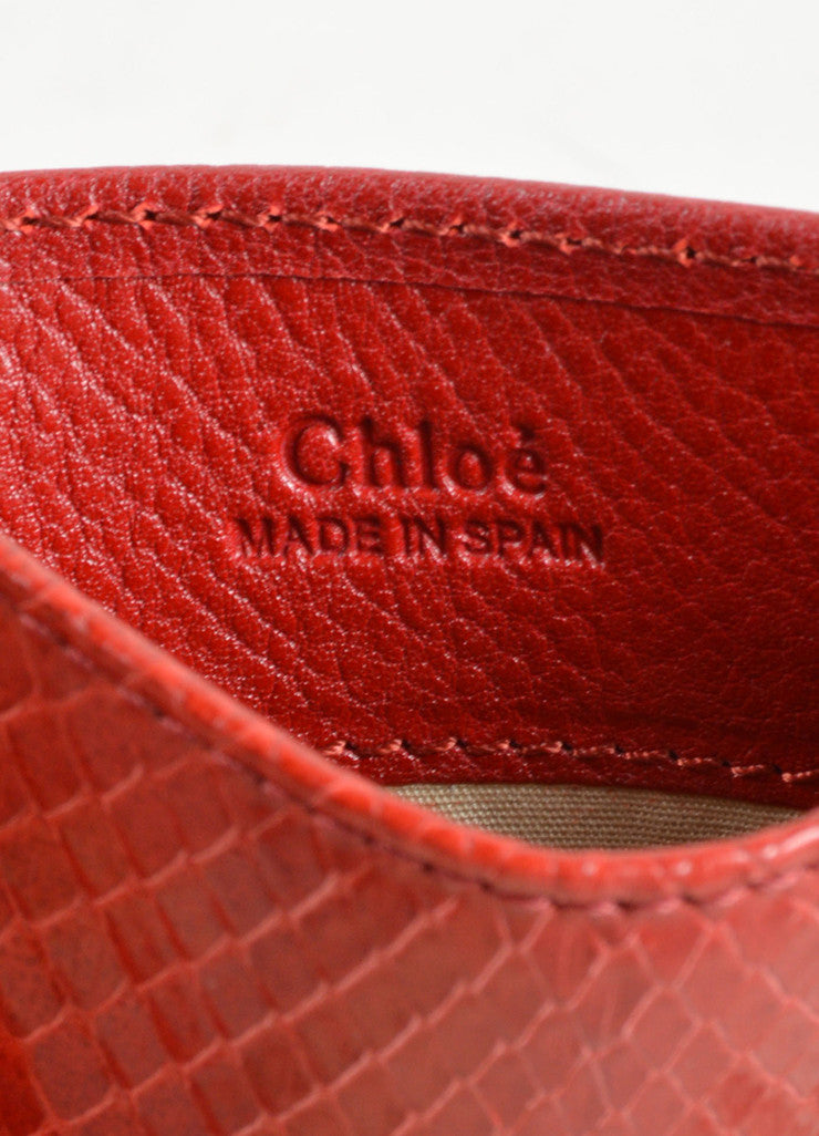 Chloe Red Python Leather Credit Card Holder Brand