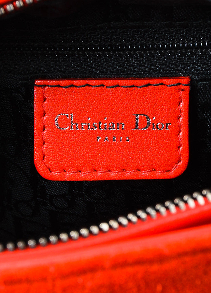 "Red Christian Dior Suede Quilted Medium ""Lady Dior Cannage"" Bag Brand"