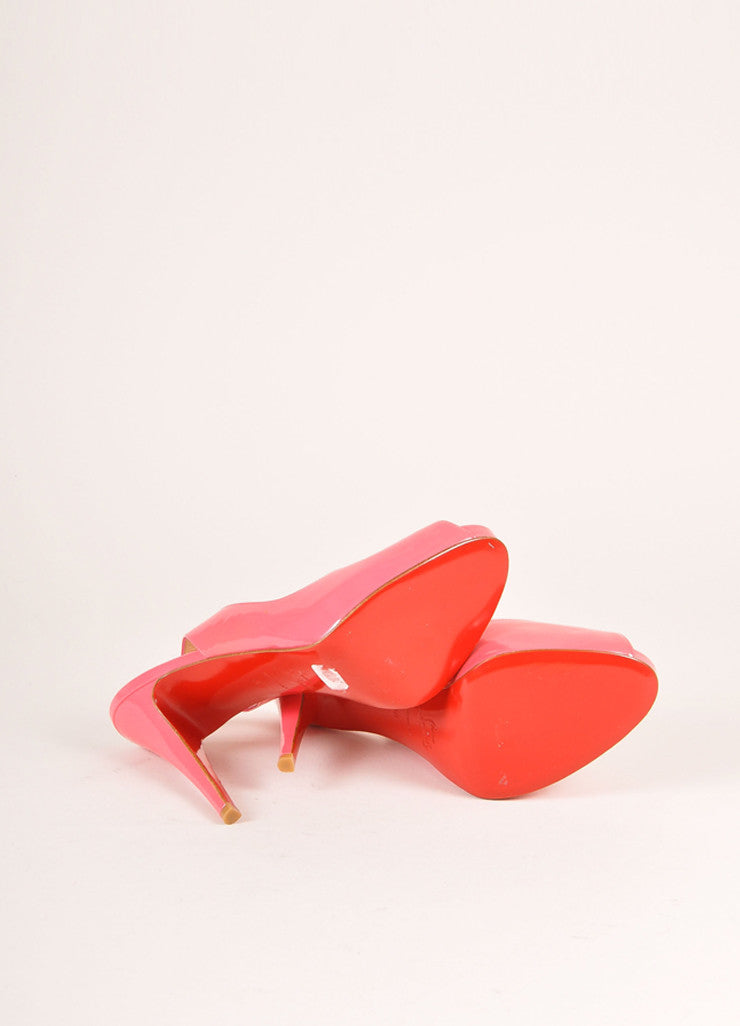 "Christian Louboutin Pink Patent Leather ""So Private"" Peep Toe Slingbacks Outsoles"