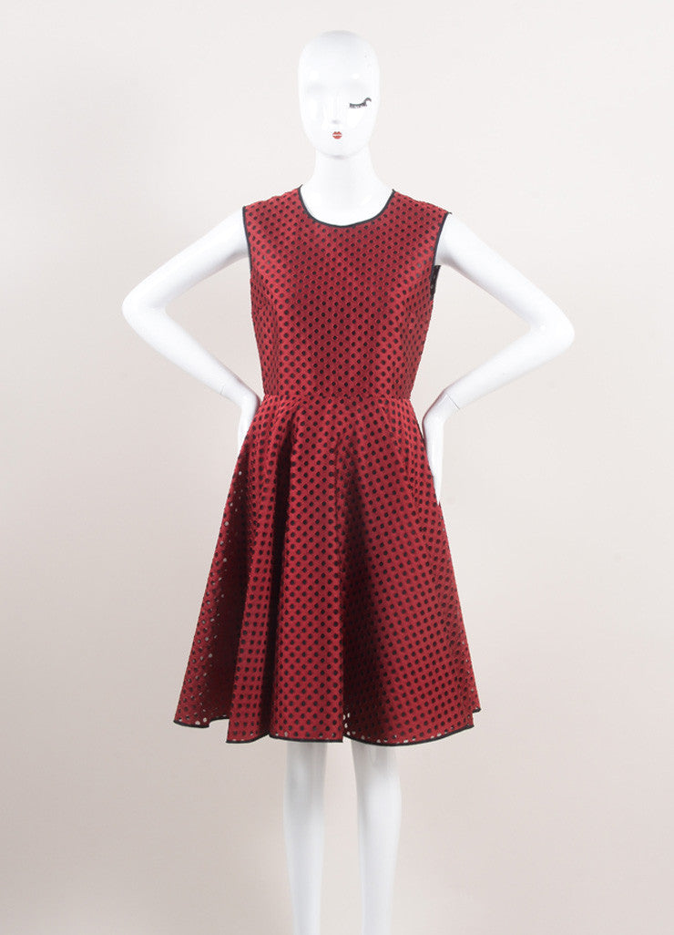 Giambattista Valli New With Tags Red and Black Eyelet Mesh Pleated Skater Dress Frontview
