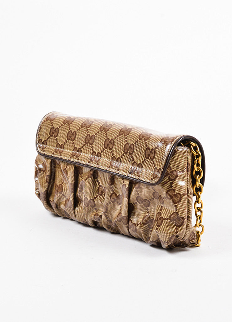 "Gucci Tan and Brown Coated Canvas Monogram Crested Heart ""Crystal Babouska"" Hand Bag Sideview"