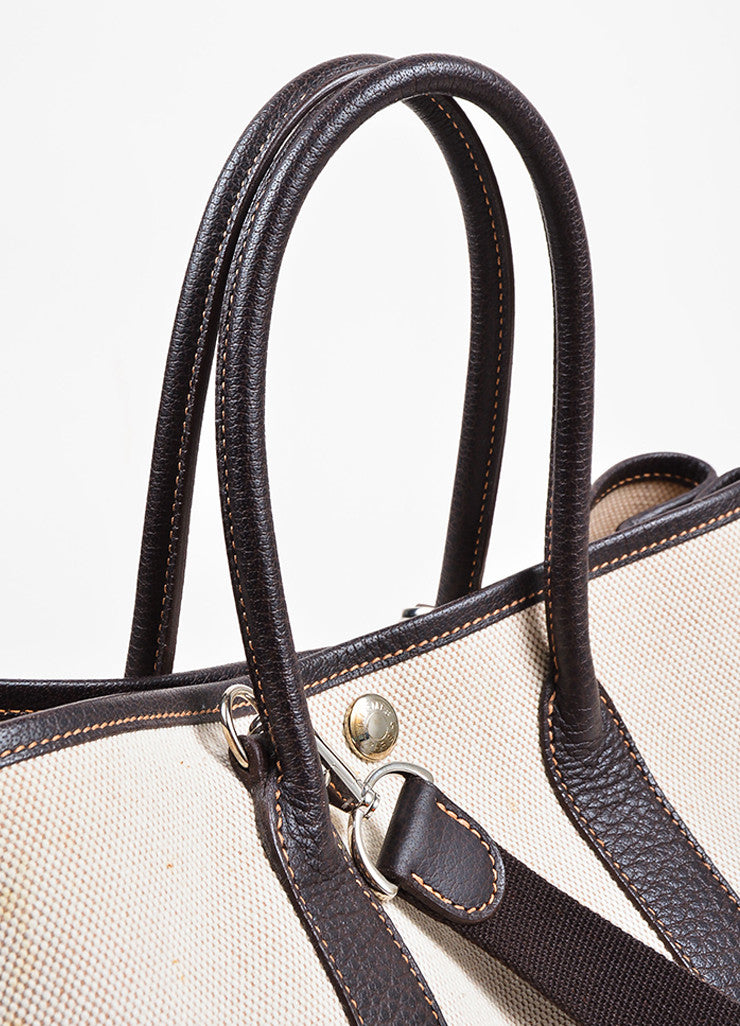 "White and Dark Brown Hermes Toile TPM ""Garden Party"" Tote Detail 4"