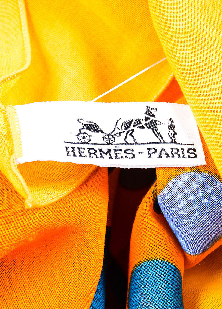 Orange and Blue Hermes Cotton Circle Print Beach Pareo Brand