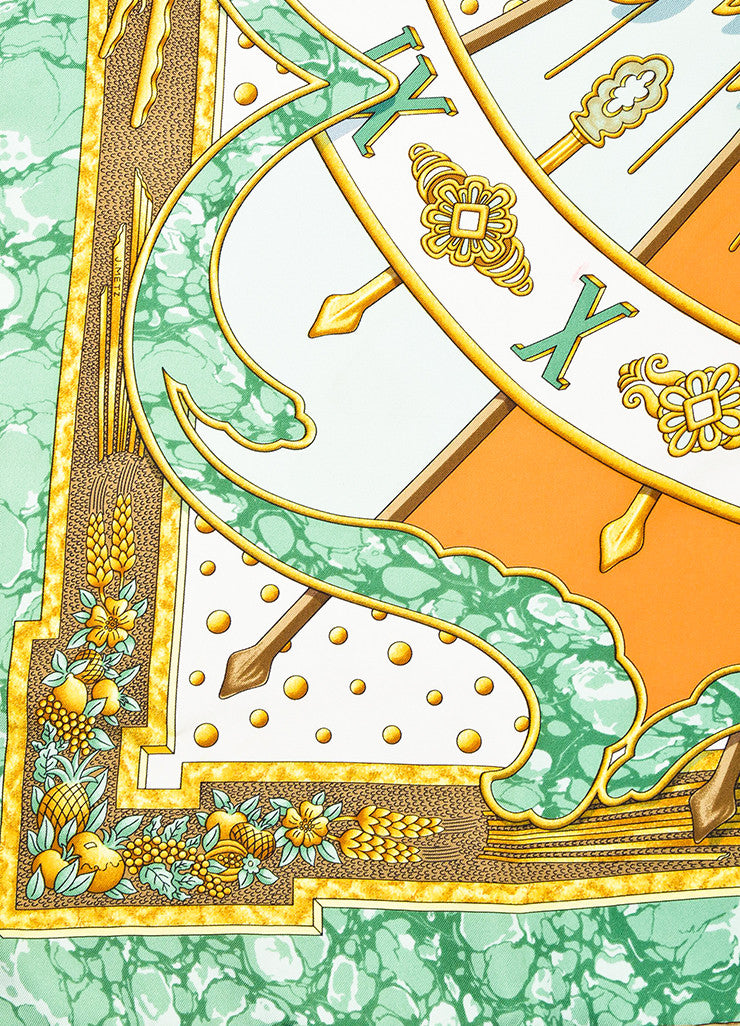 "Hermes Green and Gold Cream Silk ""Carpe Diem"" Sun Print 90cm Square Scarf Detail"