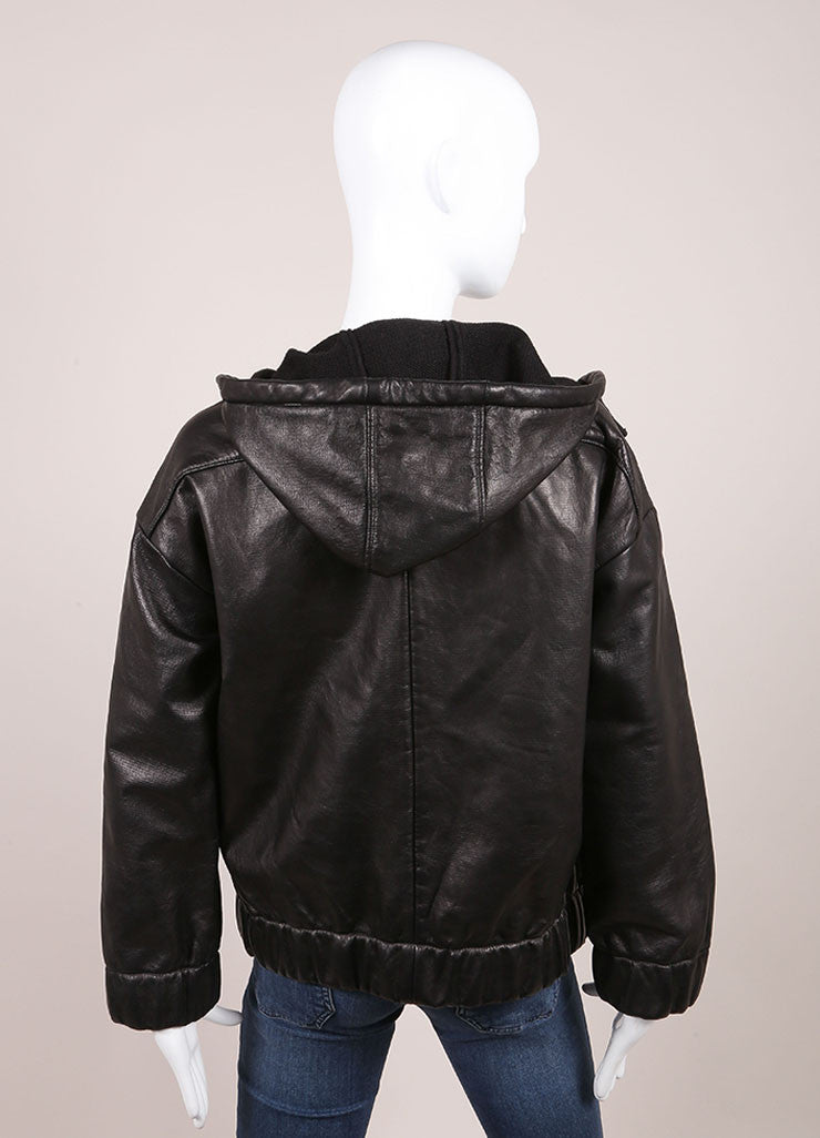 "Iro New With Tags ""Jeffrey"" Black Leather Hooded Bomber Jacket Backview"