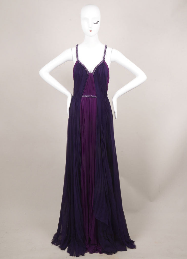J. Mendel New With Tags Purple Silk Beaded Sleeveless Pleated Gown Frontview