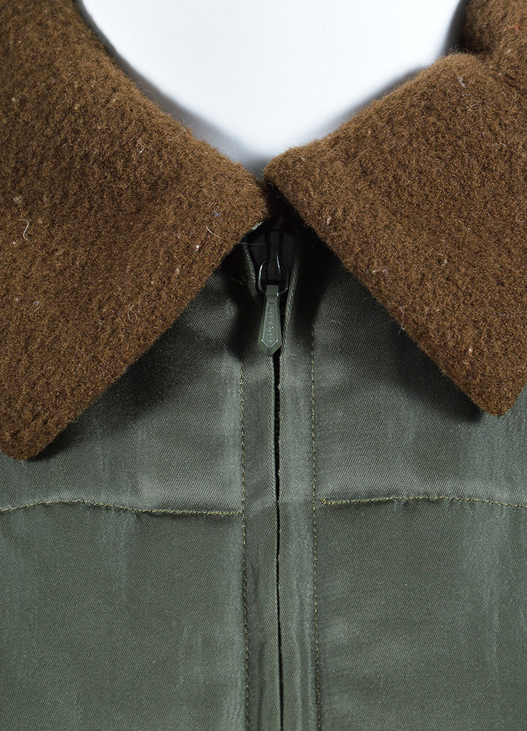 Olive Green and Chocolate Brown Jil Sander Fleece Lined Quilted Winter Coat Detail