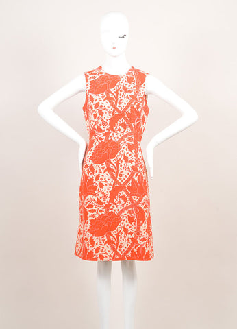 Jonathan Saunders New With Tags Red and Beige Silk and Wool Floral Print A-Line Dress Frontview