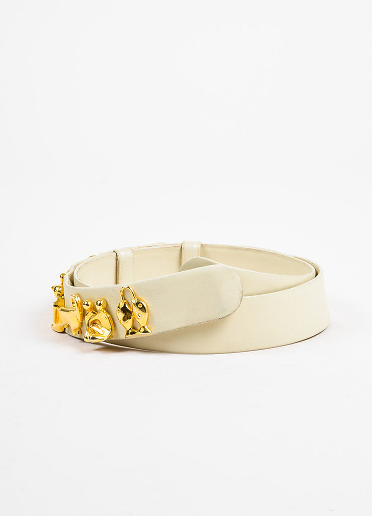 Judith Leiber Cream Leather Gold Toned Metal Zodiac Adjustable Waist Belt Sideview