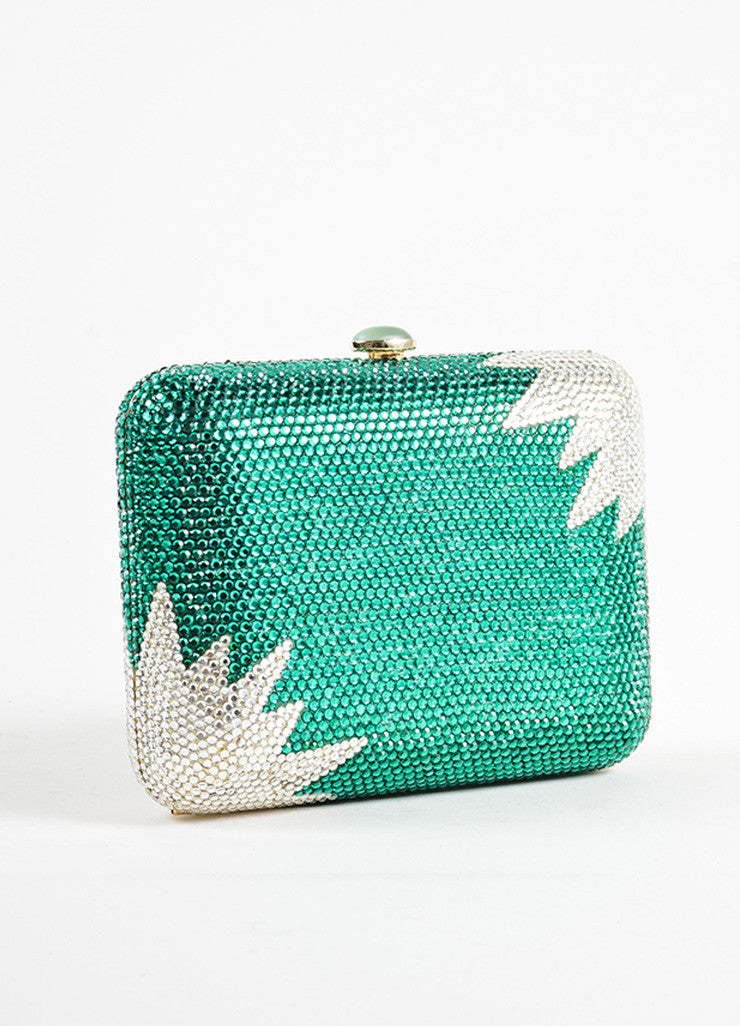 Judith Leiber Green and Clear Rhinestone Crystal Chain Strap Small Minaudiere Clutch Bag Backview