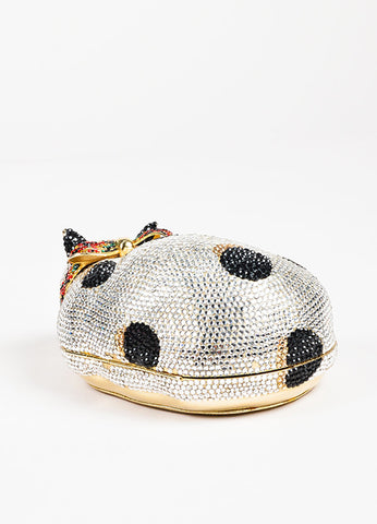"Judith Leiber Silver Polka Dot Austrian Crystals ""Sleeping Cat"" Clutch Back"