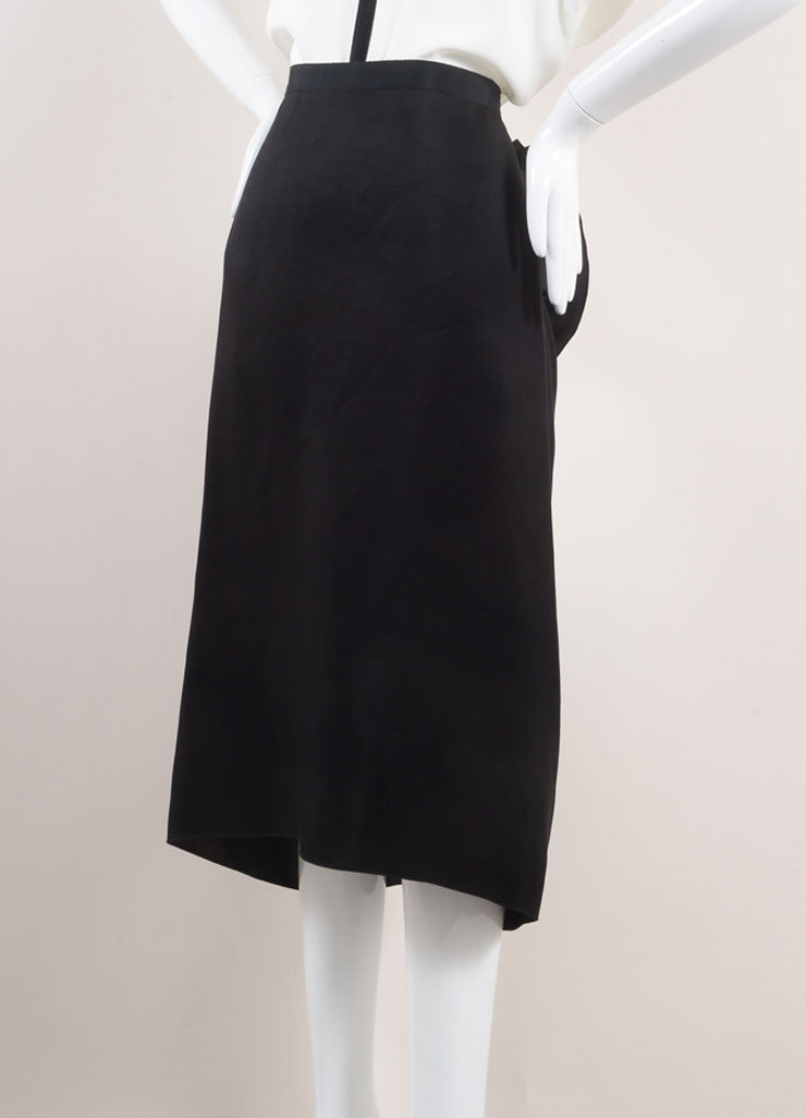 Lanvin Black Silk Ruffle Panel Midi Skirt Sideview