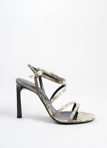 Lanvin Gold Suede Snake Embossed Pierced Pearl Strappy Sandals  Sideview