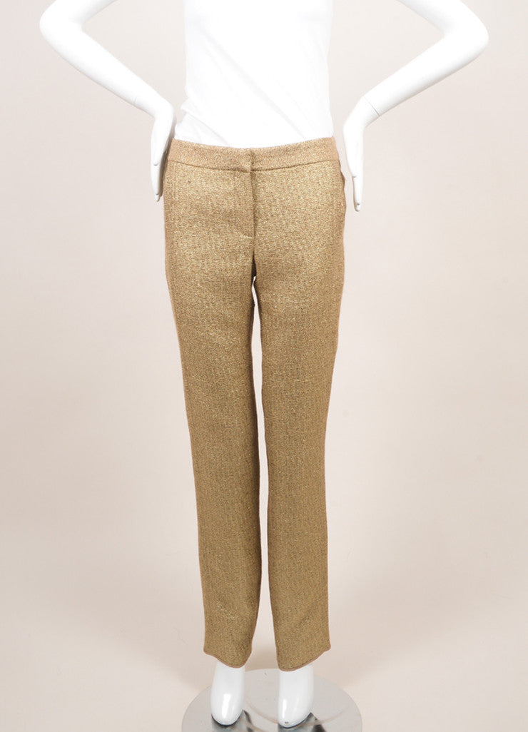 Lela Rose New Metallic Gold Cotton Blend Woven Slim Trousers Frontview