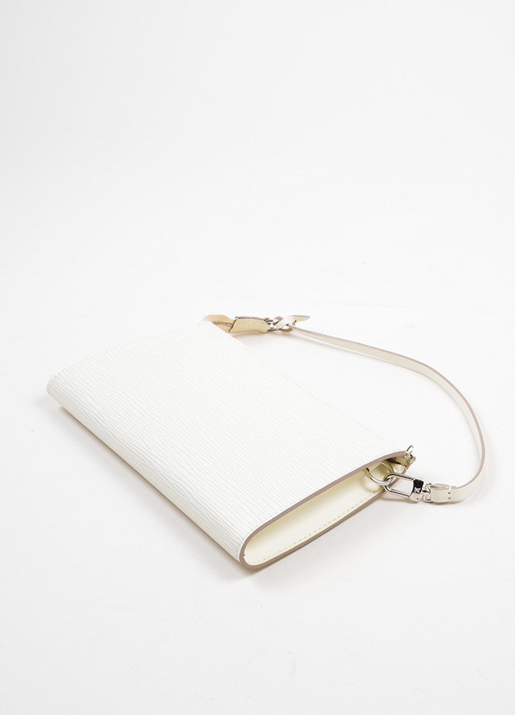 Cream Louis Vuitton Epi Leather Zip Pochette Bag Sideview