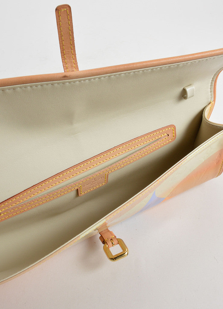 Louis Vuitton Tan, Blue, and Orange Patent Leather Vernis Embossed Pochette Fleur Bag Interior
