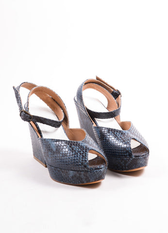 Maison Martin Margiela Blue Snakeskin Peep Toe Wedge Sandals Frontview