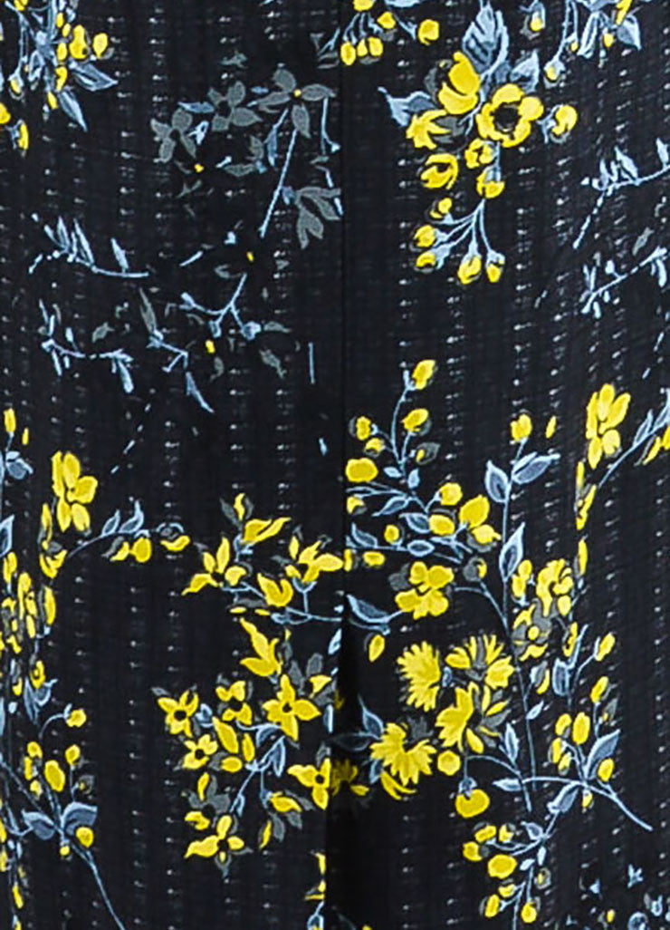 Black, Yellow, and Grey Marni Wool and Silk Blend Floral Print Long Jacket Detail