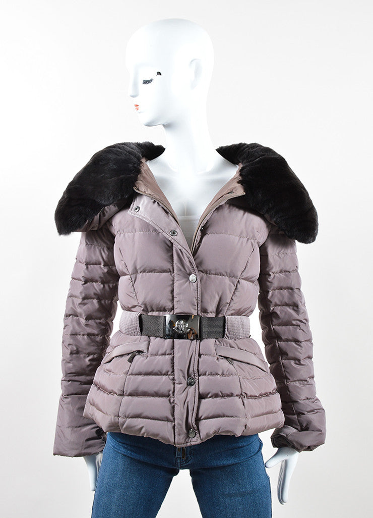 Moncler Mauve Nylon and Dark Brown Rabbit Fur Belted Puffer Winter Coat Frontview