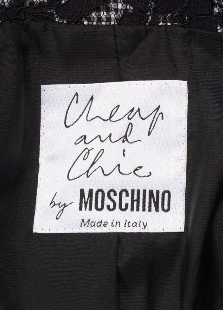 Moschino Cheap & Chic Black and White Check Lace Polka Dot Bow Jacket Brand