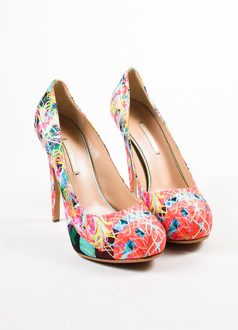 Multicolor Nicholas Kirkwood Neon Printed Satin Platform Pumps Frontview