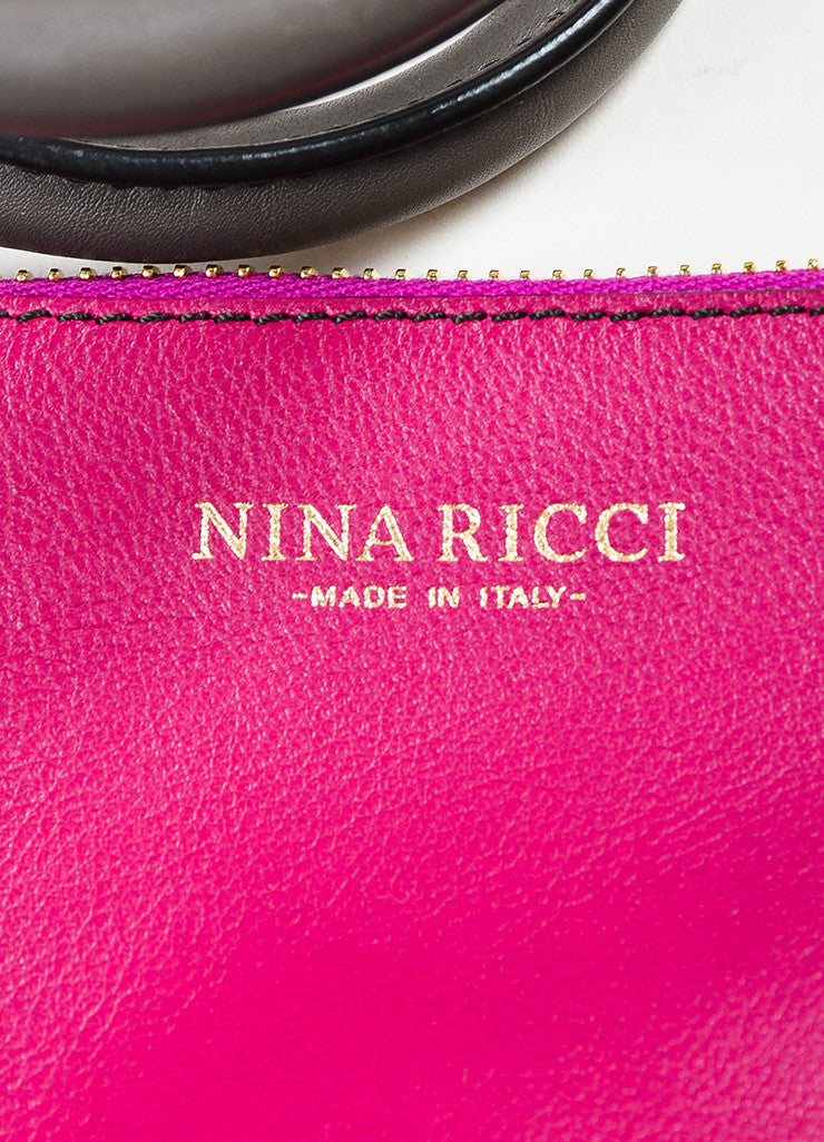 "Nina Ricci Grey and Magenta Leather ""Le Marche"" Shoulder Bag Brand"