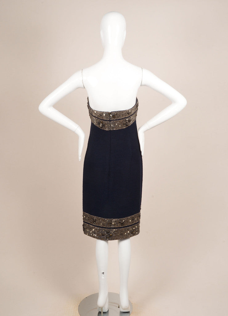 Oscar de la Renta Navy and Silver Wool Boucle Jewel Beaded Strapless Dress Backview