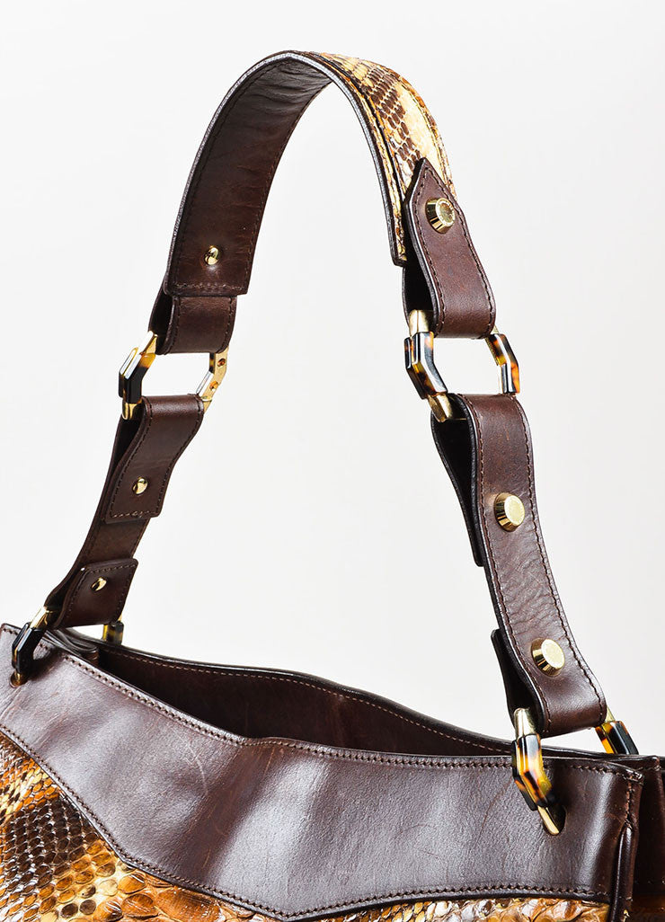 Oscar de la Renta Brown Python Leather Trim Shoulder Tote Bag Detail 4