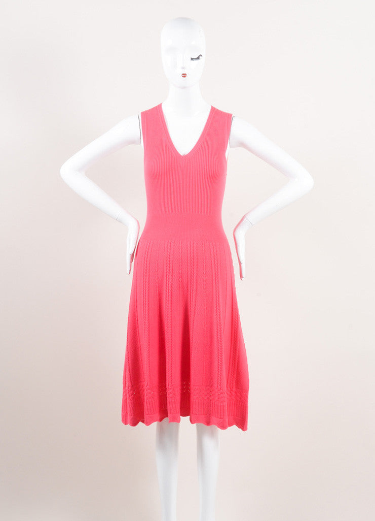 Oscar de la Renta New With Tags Pink Wool Woven Braided Knit Skater Dress Frontview