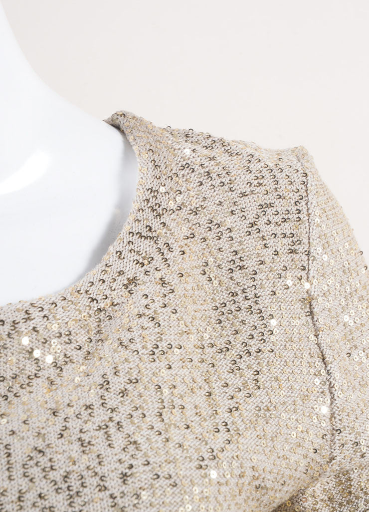 Oscar de la Renta New With Tags Beige and Gold Sequin Embellished Long Sleeve Knit Sweater Detail