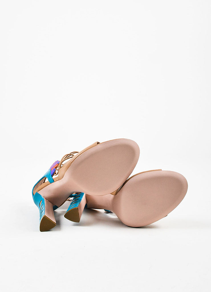 "Paula Cademartori Nude and Multicolor ""Cappuccino"" Leather ""Lotus"" Sandals outsoles"