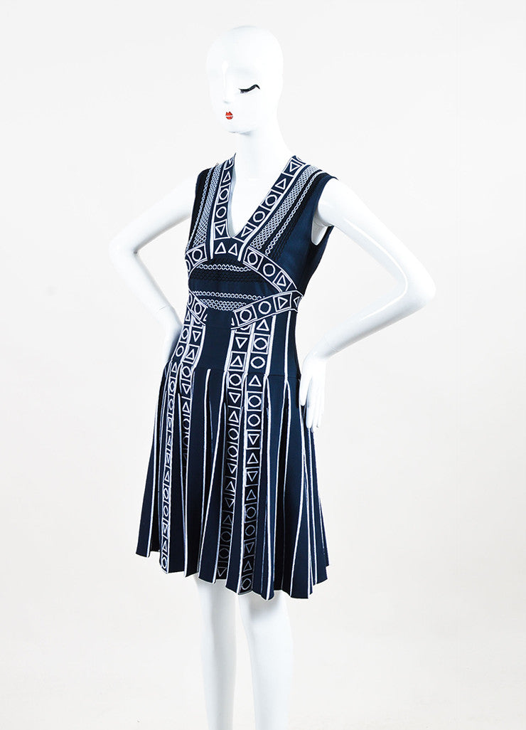 "Peter Pilotto Navy and White Pleat Stretch Knit ""Index"" Printed Dress Sideview"