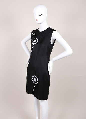 Prada Black and White Silk Spray Paint Flower Print Sleeveless Sheath Dress Sideview