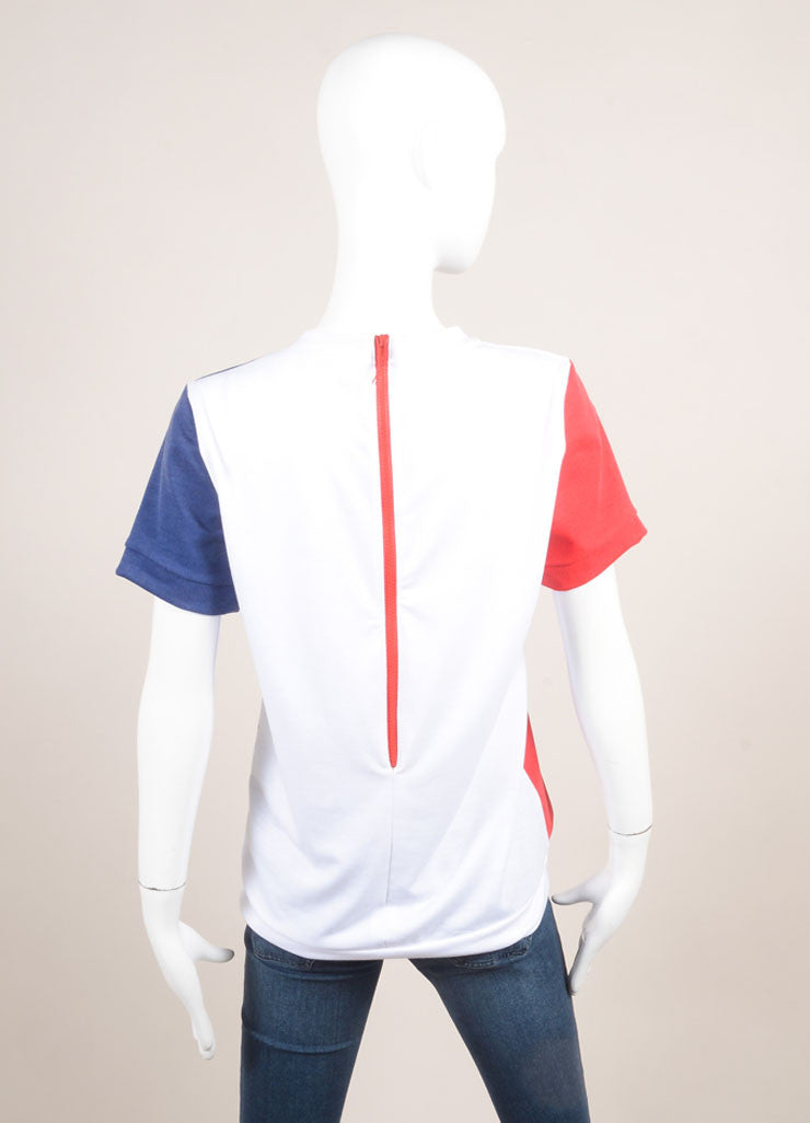 "Pret a Surf New With Tags White, Navy, and Red ""Mondrian"" Print Short Sleeve Cotton Sweatshirt Backview"