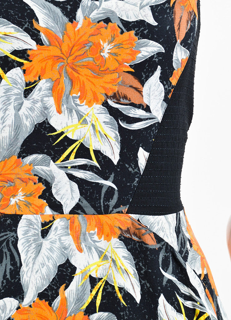 Black, Orange, and Grey Proenza Schouler Silk Sleeveless Hibiscus Flippy Dress Detail