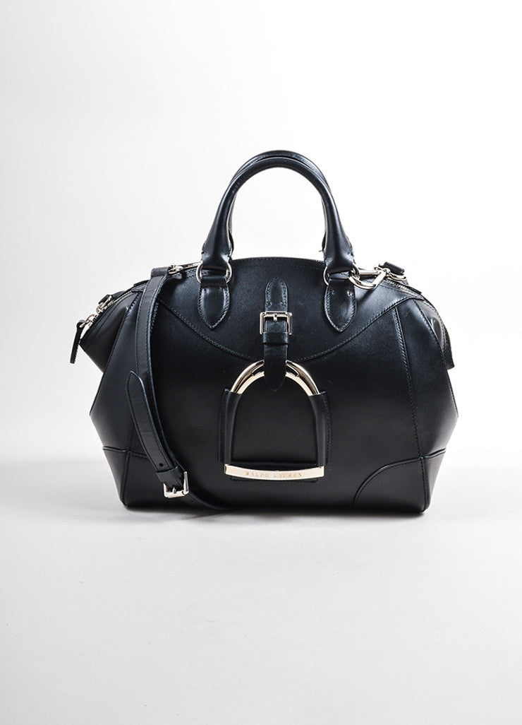 Ralph Lauren Black Leather and Silver Toned Stirrup Hardware Satchel Bag Frontview
