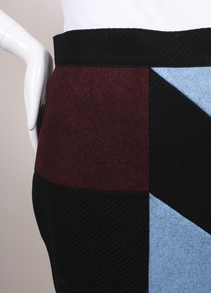 "Roksanda Ilincic New Black, Blue, and Red Color Block Wool ""Alba"" Skirt Detail"