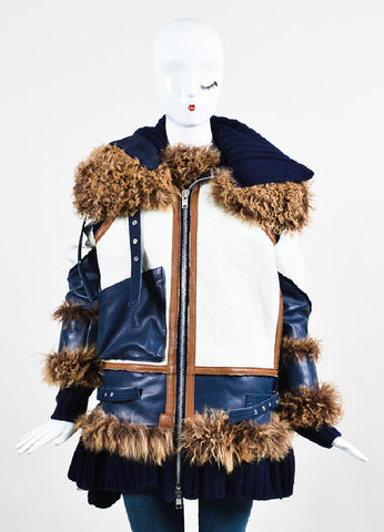 Navy, White, and Brown Sacai Knit Leather Lamb Fur Trim Coat Frontview 2