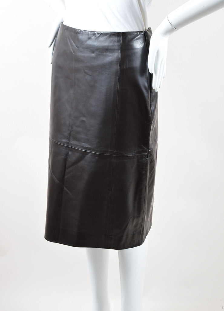 "The Row Dark Brown Leather Back Slit ""Jenta"" Straight Skirt Sideview"